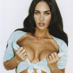 Megan Fox pushing her boobs out of her shirt