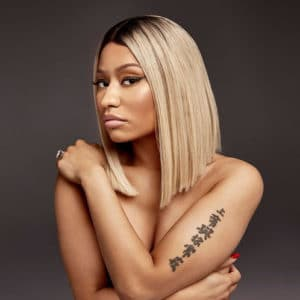 Nicki Minaj topless photo shoot with arms across chest