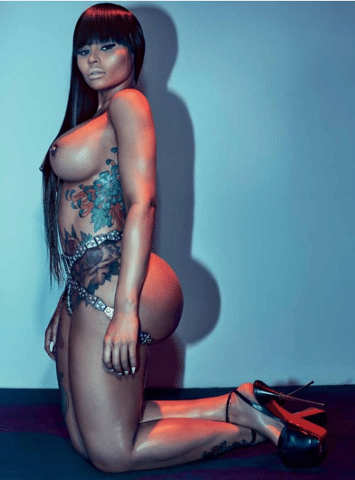 Blac Chyna totally nude wearing heels sitting on knees