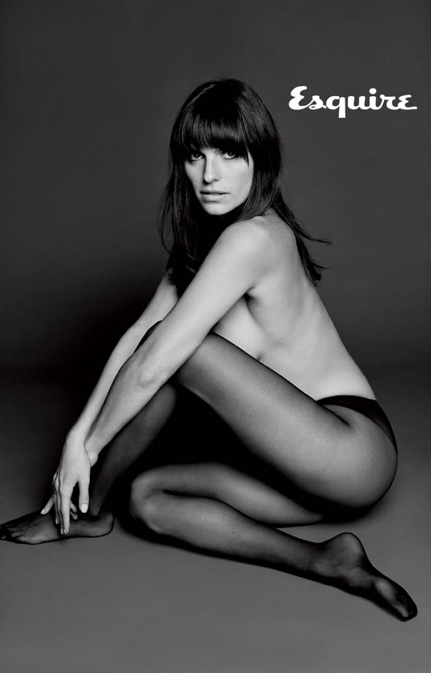 Black and white pic of Lake Bell in panties topless