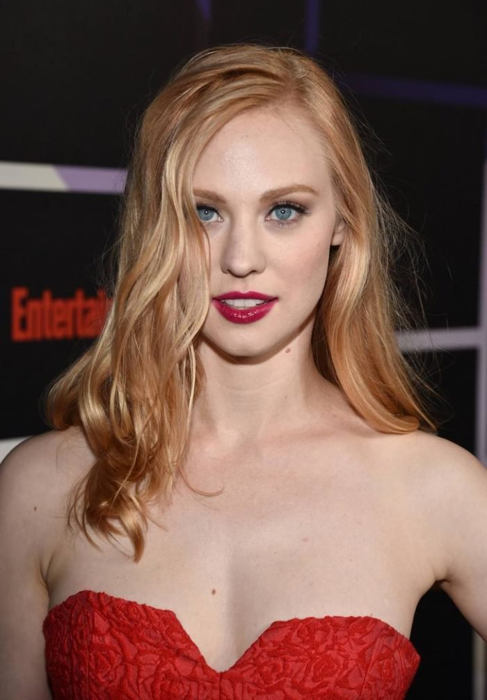 Deborah Ann Woll in a red dress