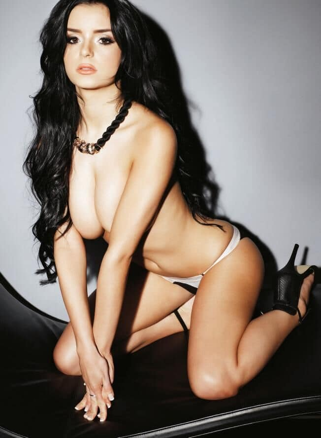 Demi Rose on knees topless