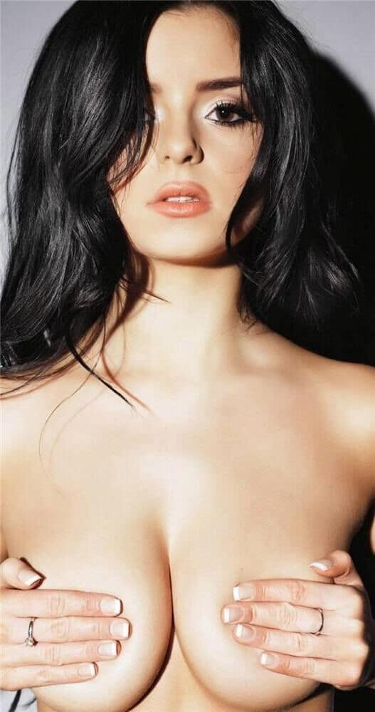 Demi rose covering tits with hands