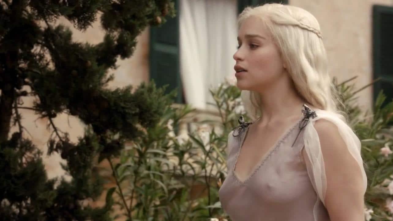 Emilia Clarke in sheer dress nipples exposed