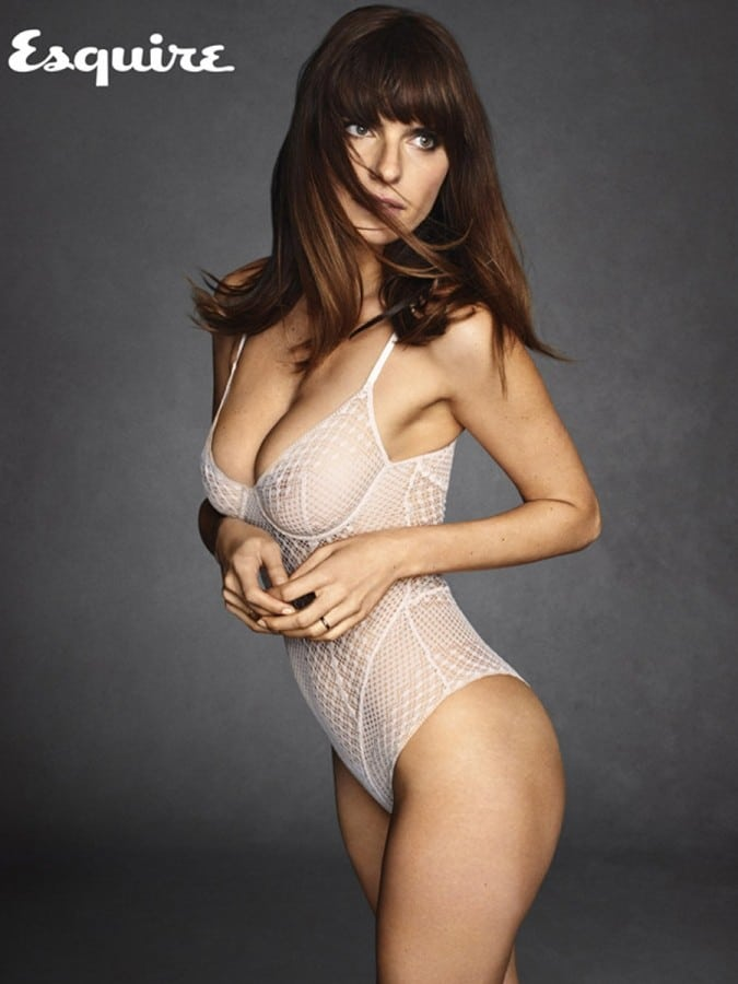 Esquire magazine photo of Lake Bell with see through lingerie on