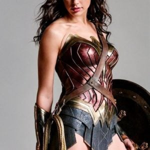Gal Gadot in Wonder Woman costume looking fierce