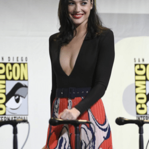 Gal Gadot in a deep v at comiccon showing off cleavage
