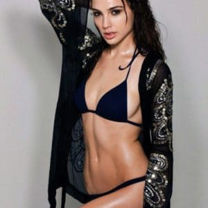 Gal Gadot in black bikini and sheer cover up