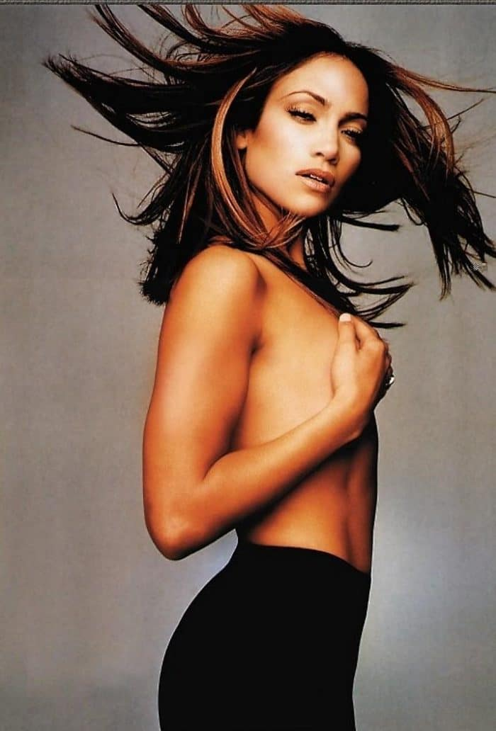 JLo topless with hair flowing