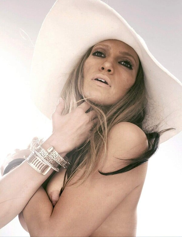 Jennifer Lopez nude in big white hat topless