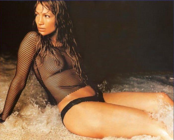 Jennifer Lopez in see through net top