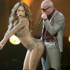 Jennifer Lopez putting her butt on Pitbull