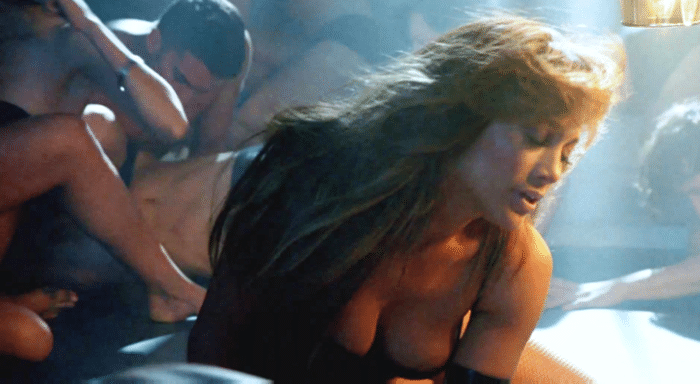 Jennifer Lopez showing her bare cleavage in movie scene