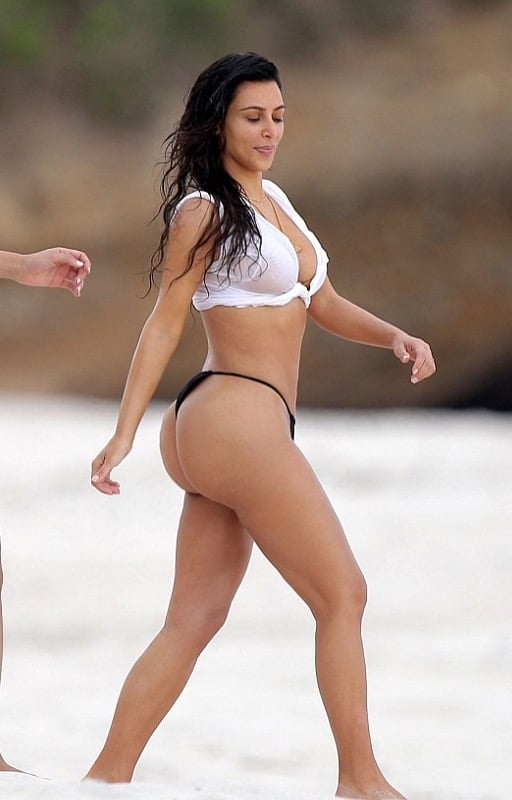 Kim Kardashian in black thong bikini in Mexico