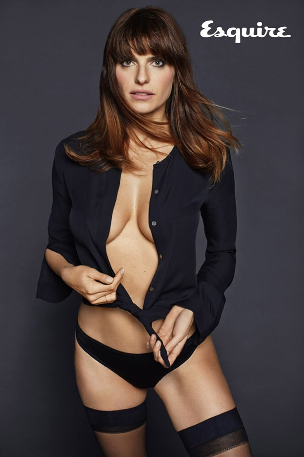 Lake Bell braless in photoshoot for Esquire