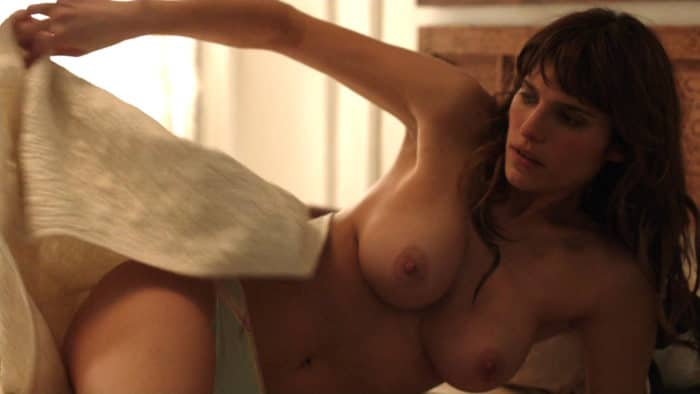 Lake Bell getting out of bed topless