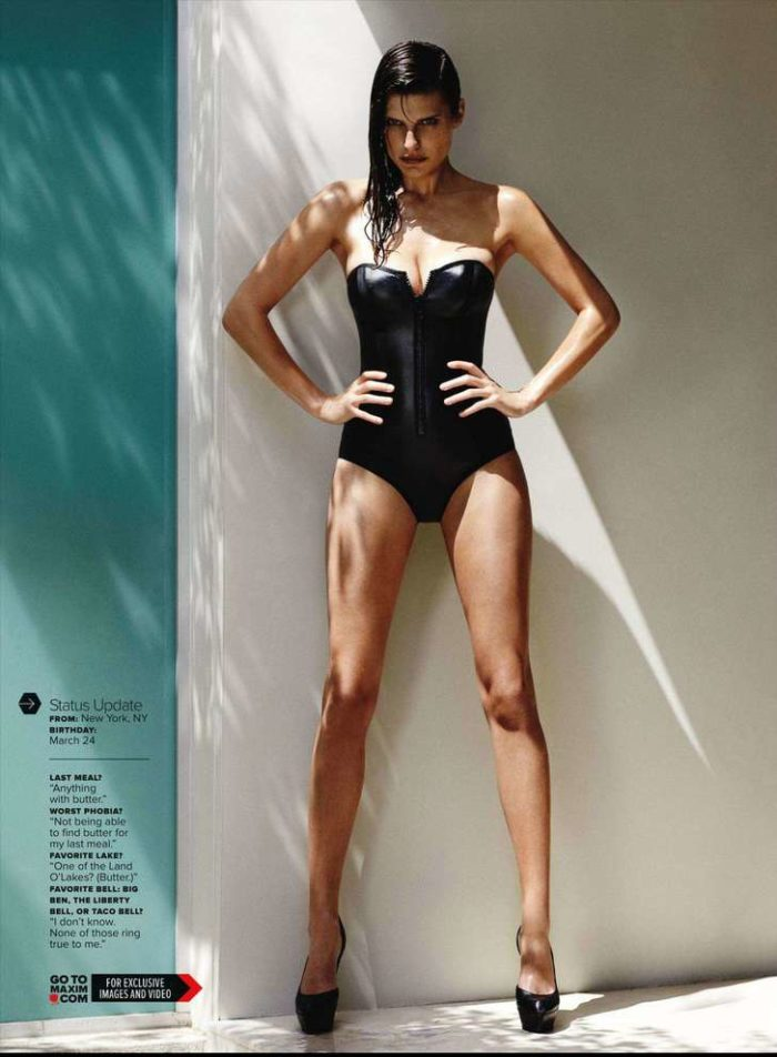 Lake Bell in black body suit and heels for Maxim