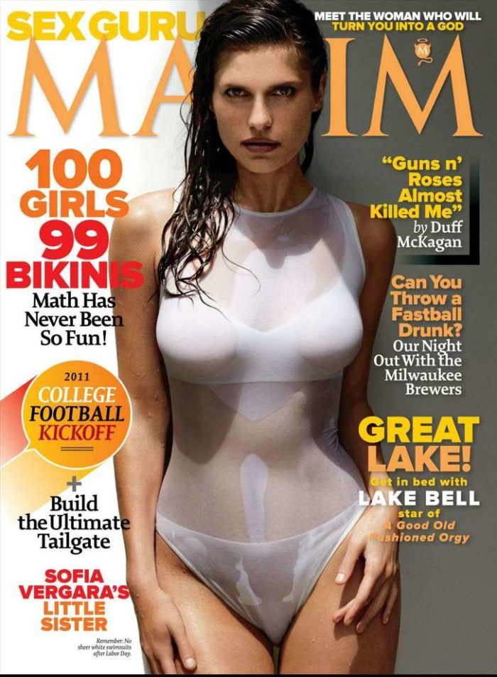 Lake Bell in white body suit for Maxim cover