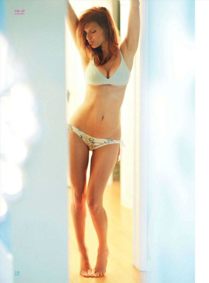 Lake Bell modeling lingerie in her apartment for Esquire