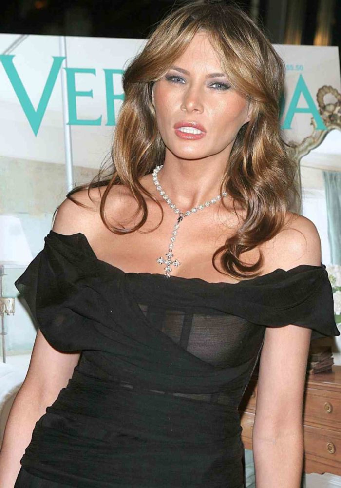 Melania Trump in a black sheer top exposing nipple