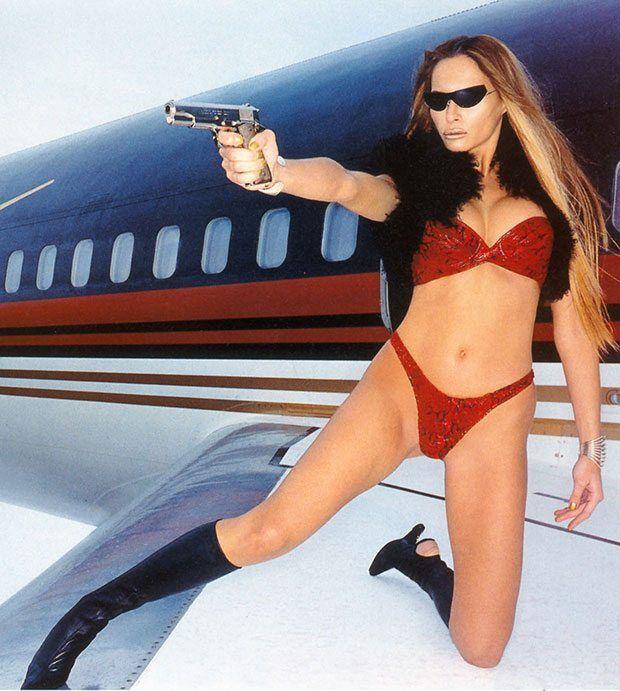 Melania Trump on Donald Trump's airplane shooting a pistol