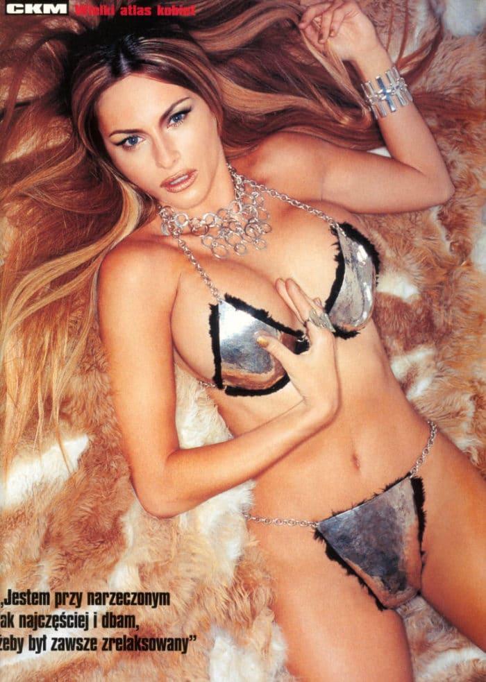 Melania Trump wearing a metalic swimsuite