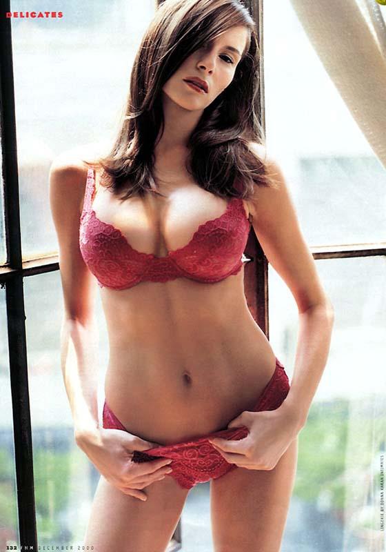 Melina Trump posing in red lingerie