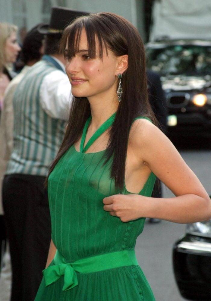 Natalie Portman see through nipples in green dress