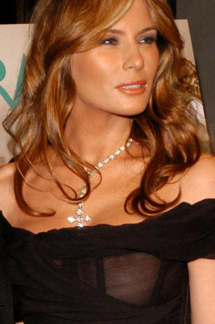 Nipple slip Melania Trump in see through black gown