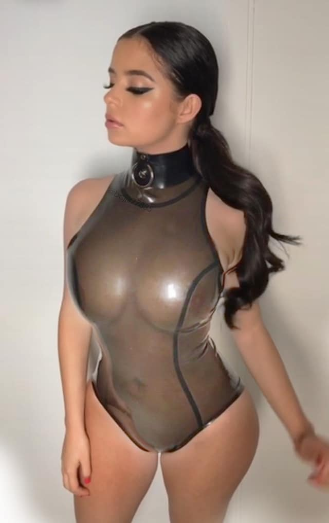 See through pic of Demi Rose Mawby in latex