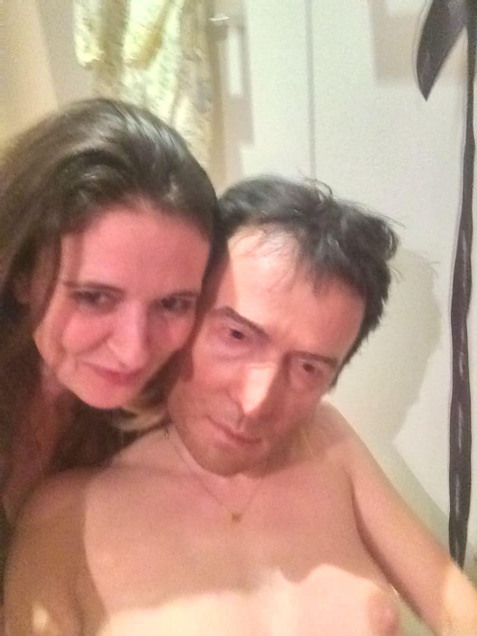 Sienna Miller selfie wearing a creepy mask