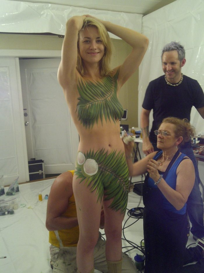 Yvonne Strahovski getting painted with her arms on her head