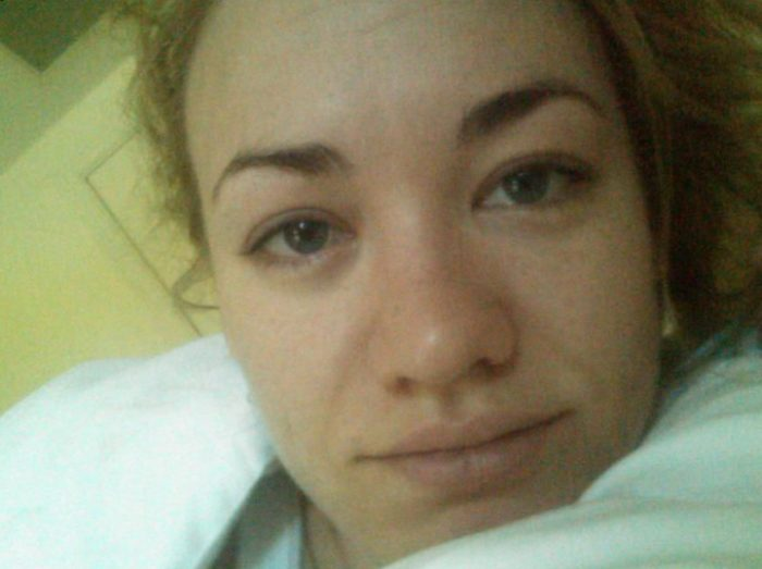 Yvonne Strahovski picture of face in bed