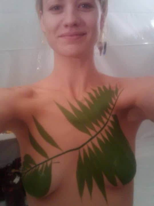 Yvonne Strahovski topless covered in body paint