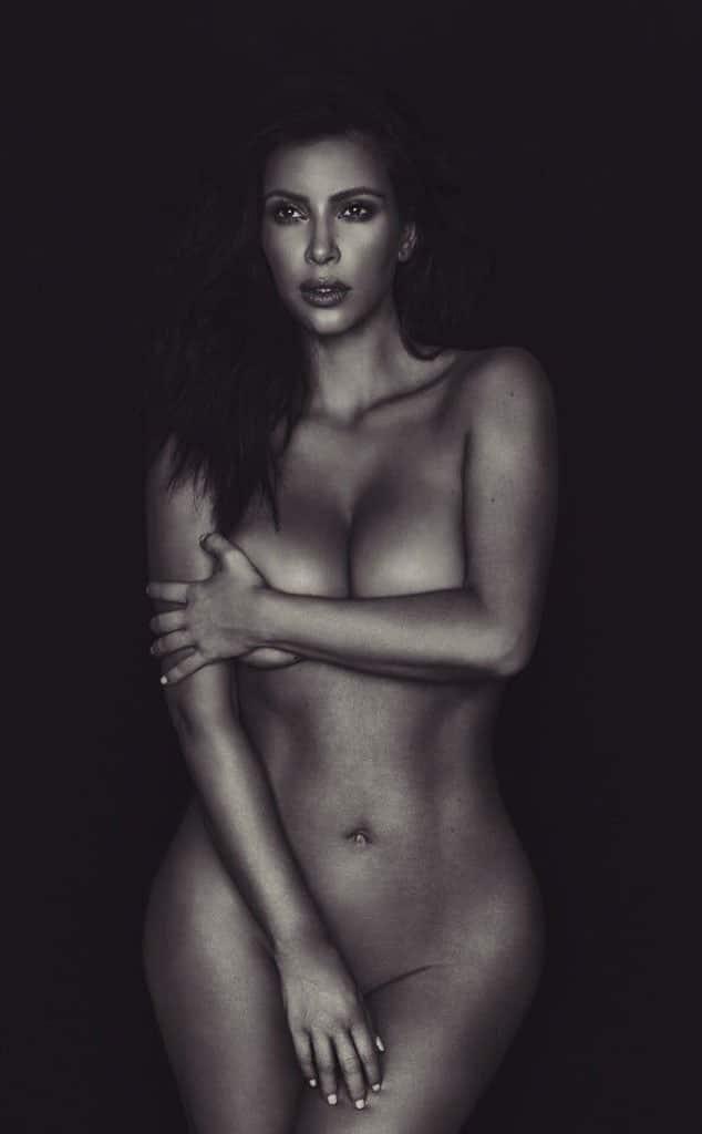 Black and white photo of Kim Kardashian nude for Liberate