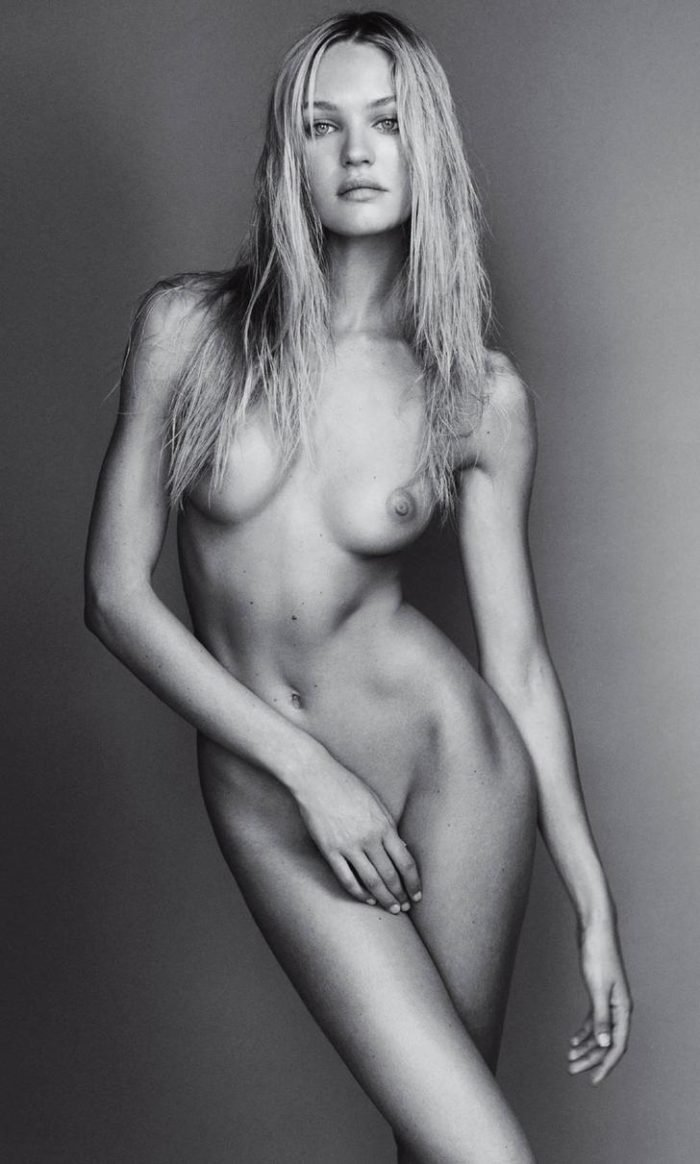 Candice Swanepoel modeling naked in black and white photo covering her pussy with her hand