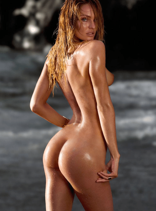 Candice Swanepoel nude at the beach with wet hair showing her ass off to the camera