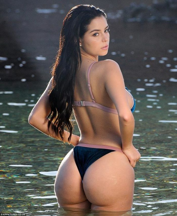 Demi Rose in black thong