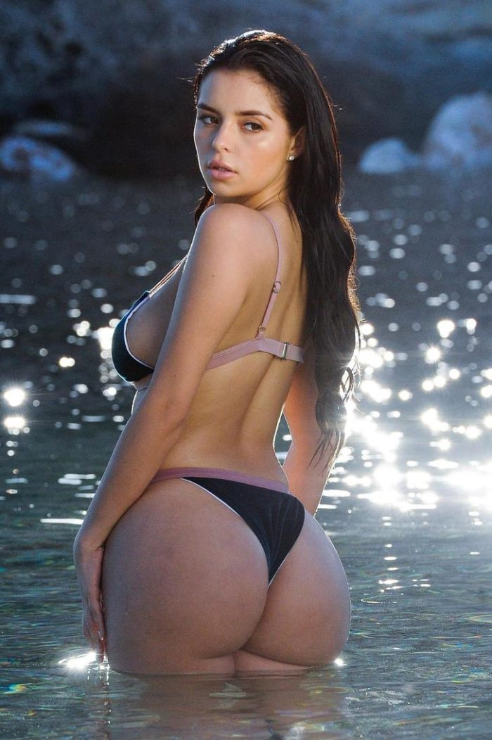 Demi rose Mawby ass cheeks looking back at camera