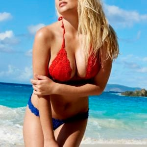 Genevieve Morton for Sports Illustrated magazine modeling in the water