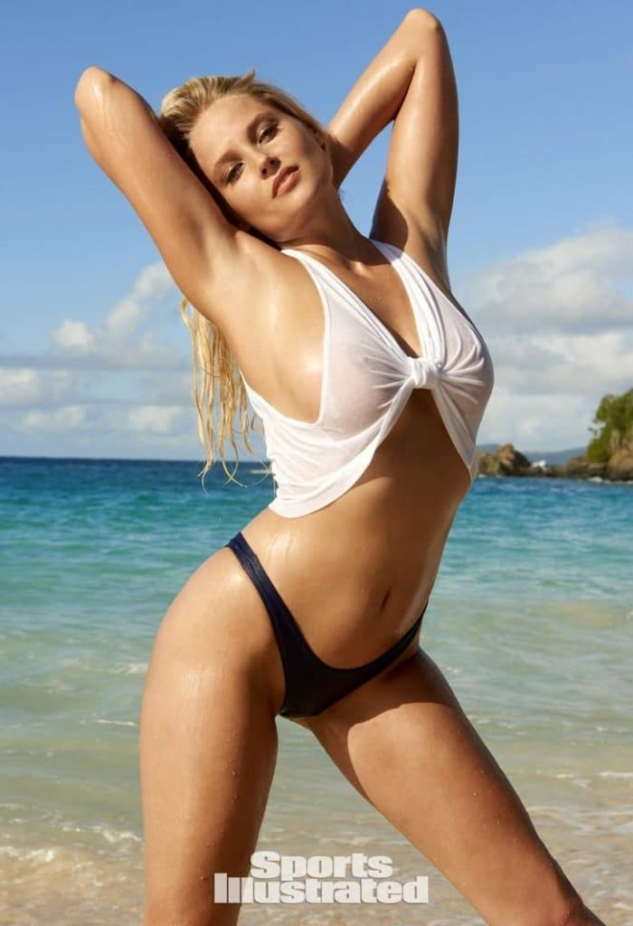 Genevieve Morton in Sports Illustrated wearing a see through top showing her nipples