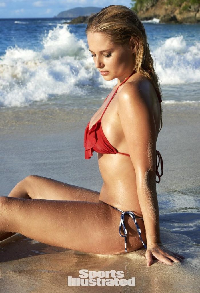Genevieve Morton with her butt in the sand