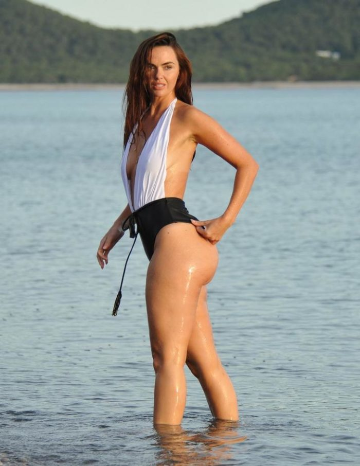 Jennifer Metcalfe's ass in one piece black and white photo