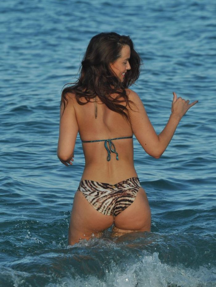 Jennifer Metcalfe's backside in animal print bottom