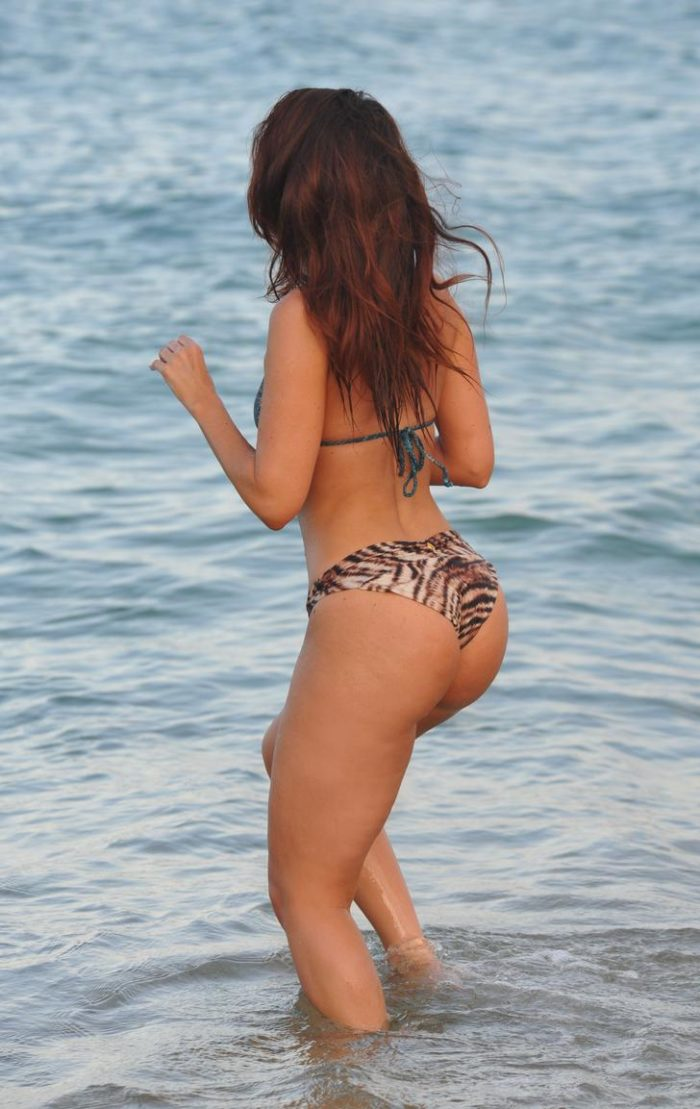 Jennifer Metcalfe's booty in animal print thong