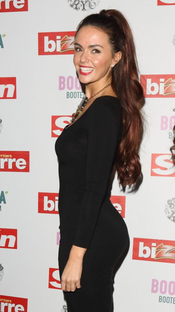 Jennifer Metcalfe's butt in black dress for event