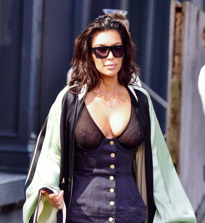 Kim Kardashian Nipples visible in NYC