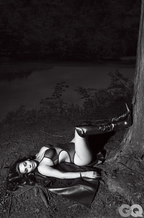 Kim Kardashian black and white pic of GQ magazine wearing a see through bra
