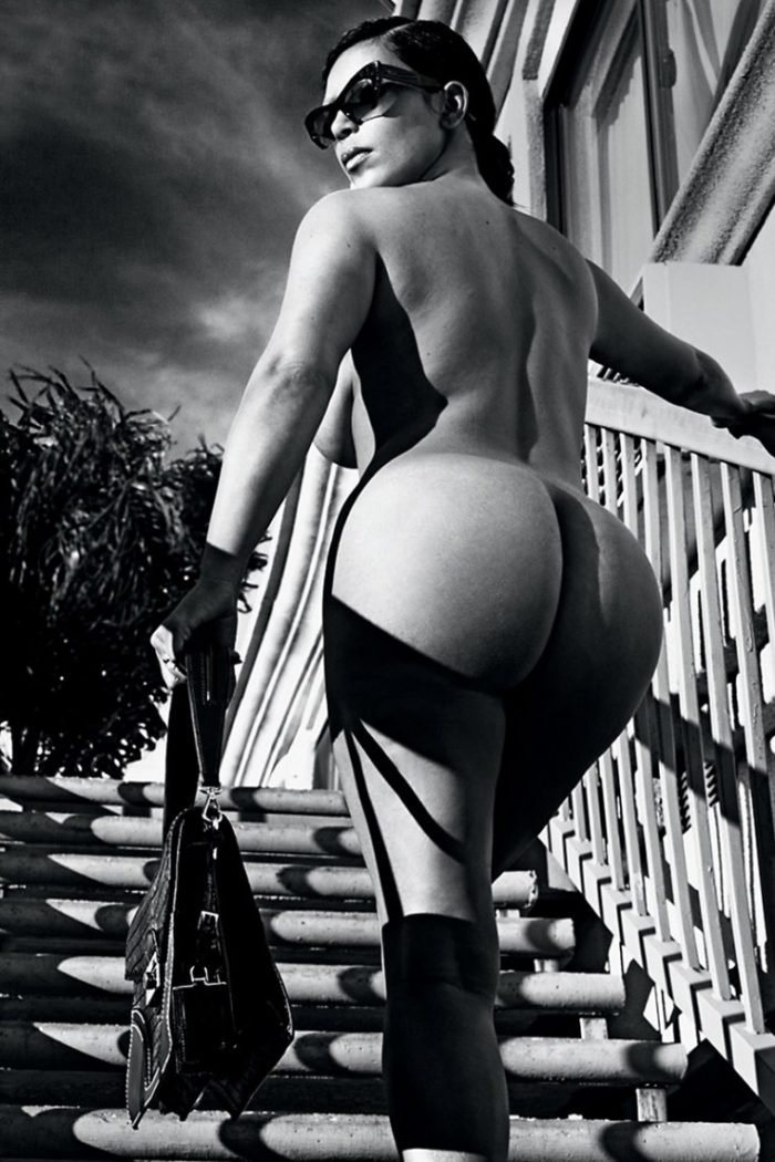 Kim Kardashian in black and white photo for Love magazine showing her big bare bottom
