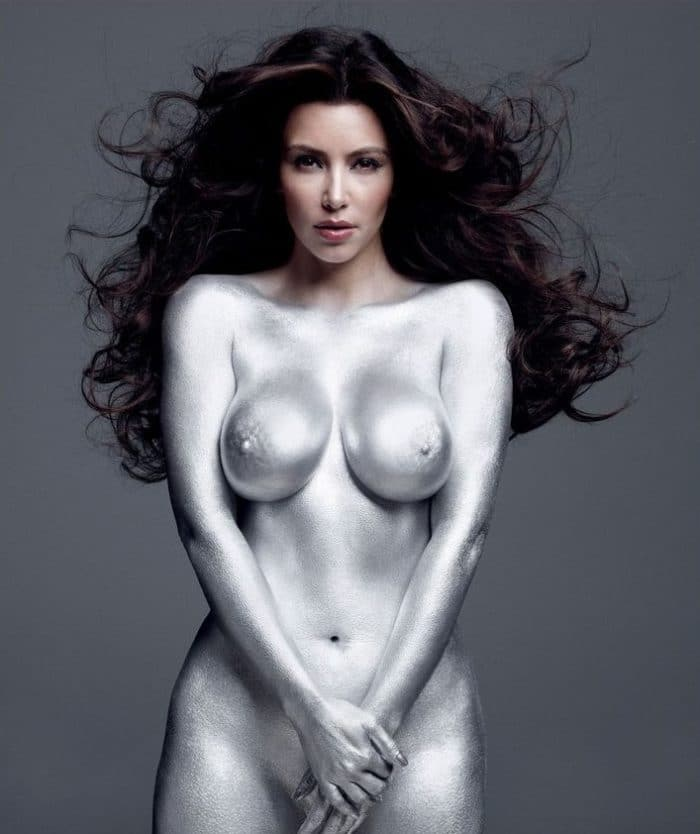 Kim Kardashian naked with silver paint on her body